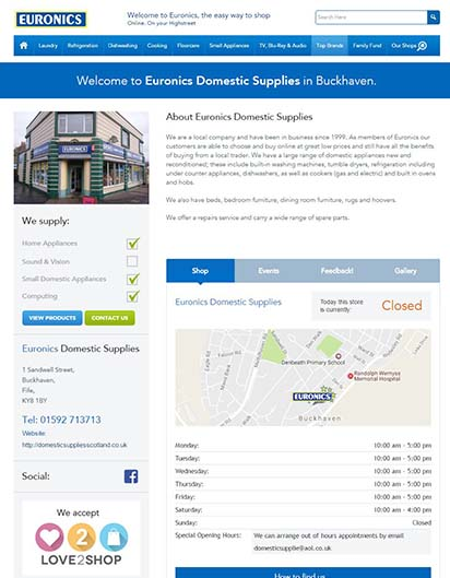 Shop online for household appliancie with Euronics dealer Domestic Supplies in Fife Scotland